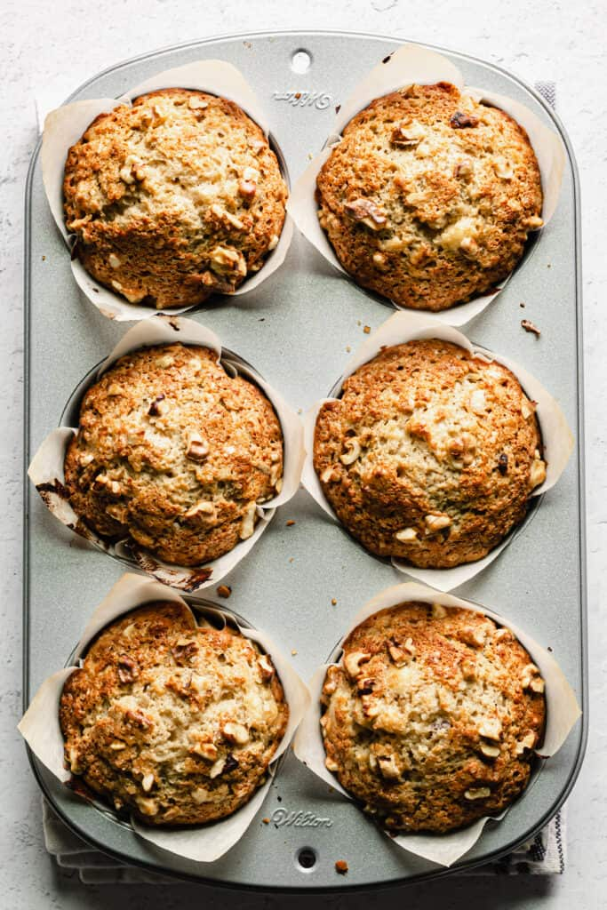 Baked banana nut muffins in the muffin pan