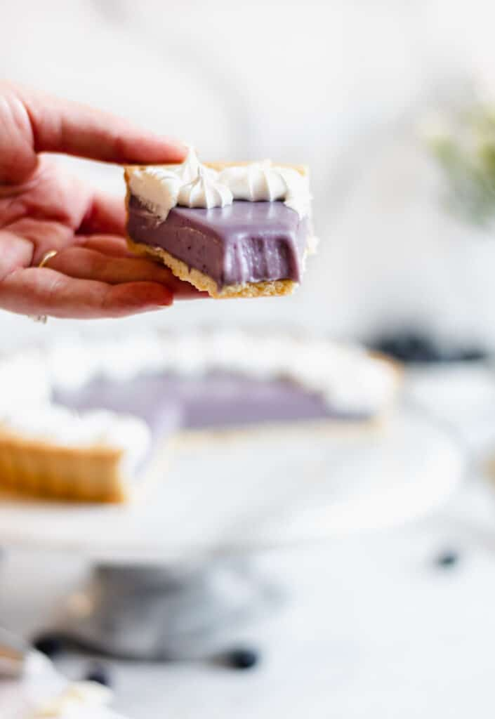 A hand holds a slice of blueberry white chocolate ganache tart with a bite removed.