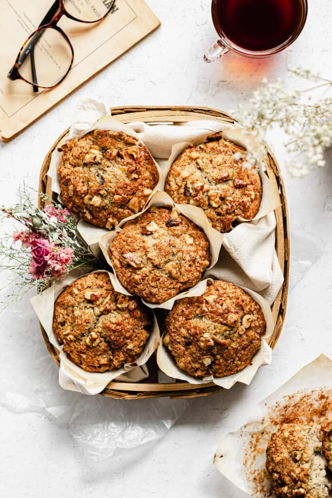 A basket of banana nut muffins from overhead.